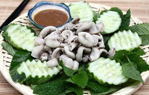 Đối với người miền Bắc, mắm tôm là món ăn đặc trưng chấm kèm thì người miền Trung lại có mắm ruốc. Mắm ruốc có thể làm gia vị khi nấu canh, hoặc ăn kèm với lòng non làm món nhắm rất ngon.