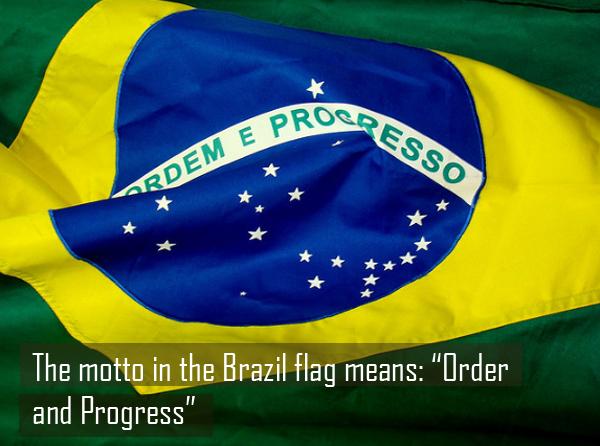 Quốc kỳ Brazil có 3 màu chủ đạo là xanh lá cây, vàng và xanh lam. Theo đo, màu xanh lá cây tượng trưng cho thiên nhiên trù phú, hình thoi màu vàng tượng trưng cho sự giàu có, thịnh vượng. Hình tròn xanh lam biểu tượng cho hành tinh của chúng ta. Dòng chữ