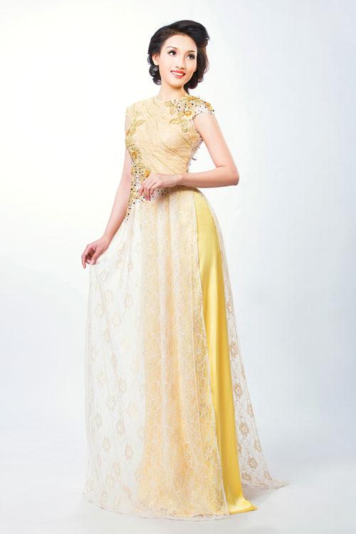 Với chiếc áo dài màu vàng, cô dâu có thể chọn quần cùng màu hoặc màu trắng. Gam màu trẻ trung này sẽ giúp cô dâu nổi bật trong ngày cưới. Ảnh:pidivn.