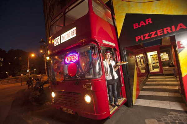 This classic red Routemaster has been turned into a truly unusual pizzeria South London area of Deptford.  The double-decker bus has been transformed by sculptor, John Cierach, allowing people to eat inside the bus or undercover in an outside bus and terrace.  This unique venue also plays host to live acoustic music, film screenings and various quirky evenings.