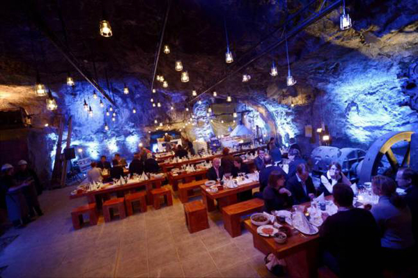 Who said mines were all about ballet, Arthur Scargill and all-male choirs?  This Finnish mine has been turned into a pop-up restaurant complete with a four course meal.  Diners will not only be entertained by the lights bouncing off the hewn limestone rock but also with dishes such as snails flambeed in Pernod- all 80m underground.