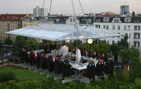 Dinner In The Sky is a death-defying choice of meal location where you most definitely have to strap in.  This dinner option is available in 60 different locations across the globe from London to Rio de Janeiro.  The only problem one can see is if you need the toilet. Spose you could blame the pigeons.
