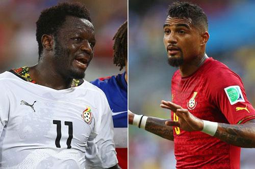 Muntari và Boateng, hai ngôi sao nổi tiếng nhất của Ghana vừa gây ra bê bối làm nội bộ đội bóng rối tung trước trận đấu sinh tử với Bồ Đào Nha.