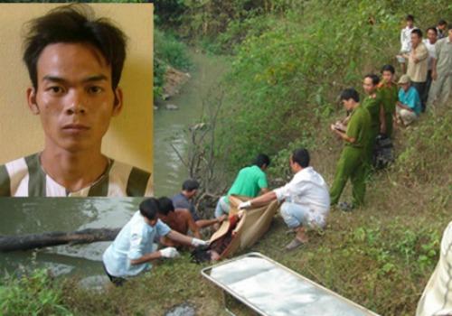 Tử tù Trần Anh Phúc và hiện trường tìm thấy xác nạn nhân.
