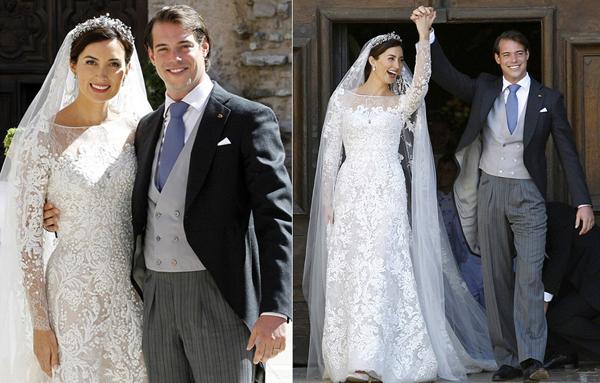 Năm 2013, hoàng gia Luxembourg tiếp tục chào đón hôn lễ của hoàng tử Felix và cô dâu Claire Lademacher. Trong đám cưới được tổ chức trang trọng tại thánh đường Saint Maximin la Sainte Baume (Pháp), cô dâu Claire mặc một thiết kế thanh lịch của Elie Saab. Chiếc váy phom dáng nhẹ nhàng với những họa tiết ren thêu tay tỉ mỉ trải dài dọc thân áo. Cô dâu duyên dáng hơn với chiếc voan trong họa tiết ren kéo dài. Ảnh: DM.