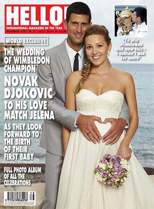 Khoảnh khắc tay vợt số một thế giới chụm tay làm thành hình trái tim ở bụng bầu của cô dâu Jelena Ristic cũng xuất hiện trên trang bìa tạp chí Hello phiên bản ở Anh.