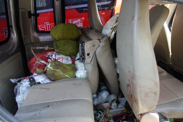 Nhiều quả mít, lồng chim phóng sinh được chở trên xe khách.