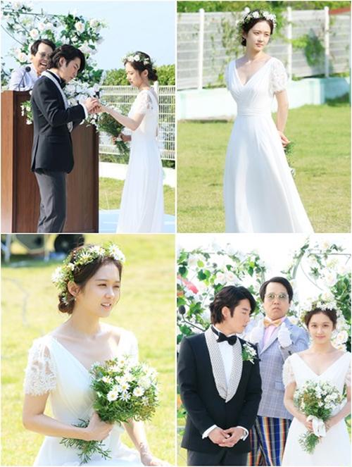 Jang Na Ra diện váy cưới duyên dáng