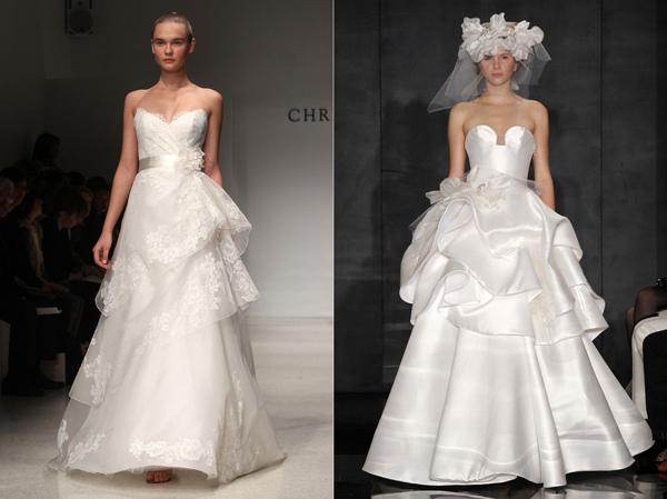 Về chi tiết trên váy cưới, nên chọn váy cưới có xếp li dọc, hoặc chéo kết hợp với ruy băng, các điểm nhấn ngay phần eo tạo cảm giác thon thả.