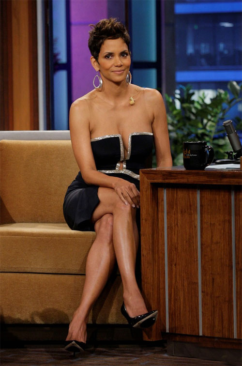 Halle Berry dons a revealing dress while chatting with Jay Leno during an appearance on The Tonight Show with Jay Leno on Monday (March 11) in Burbank, Calif