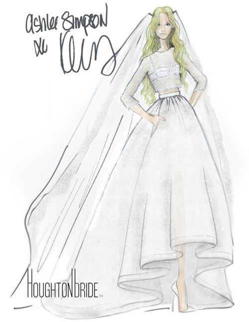 Ashlee Simpson diện váy cưới croptop