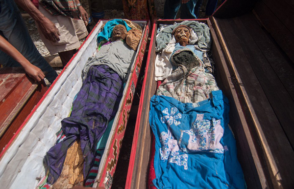 Damaged coffins are fixed or replaced, and the mummies are then walked around the village by following a path of straight lines.