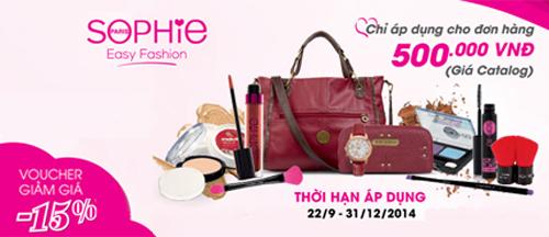 Nắm bắt được nhu cầu mua sắm cuối năm của các chị em, Sophie Paris đã phát hành Voucher mua sắm giảm giá 15%, áp dụng tại các cửa hàng phân phối của hãngtrên toàn quốc từ ngày22/9 tới ngày31/12.