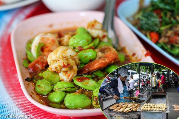 Món đậu xào tôm ở nhà hàng Ran Gaeng Pa Sriyani.