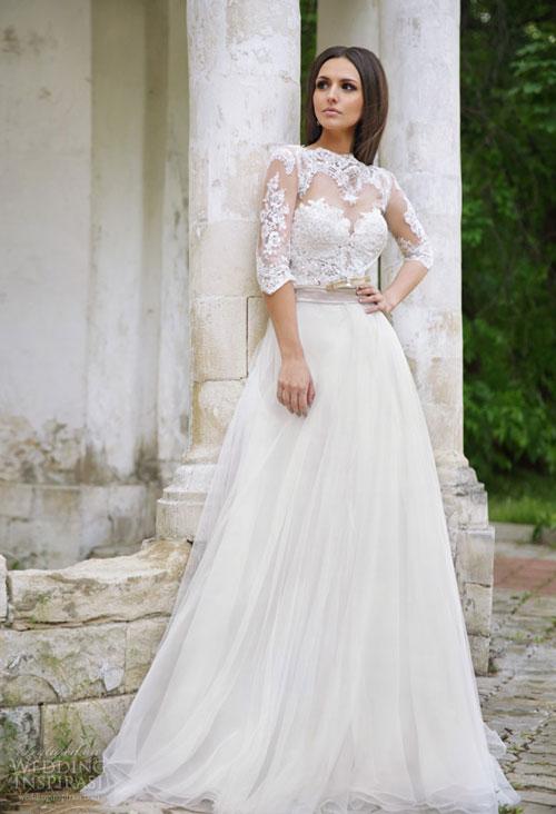 Váy cưới gợi cảm với voan ren bay bổng