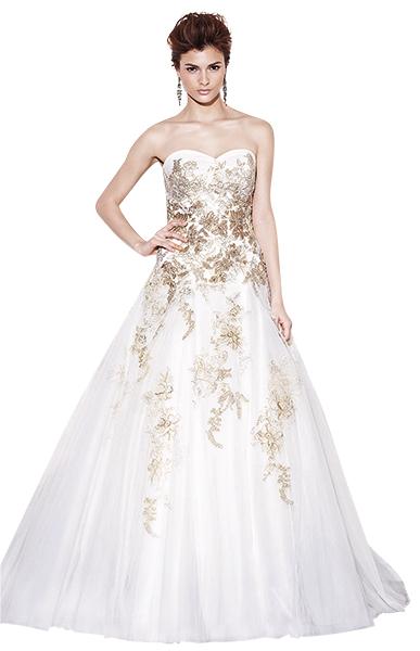 Thêm gam vàng ánh kim cho váy cưới thu đông
