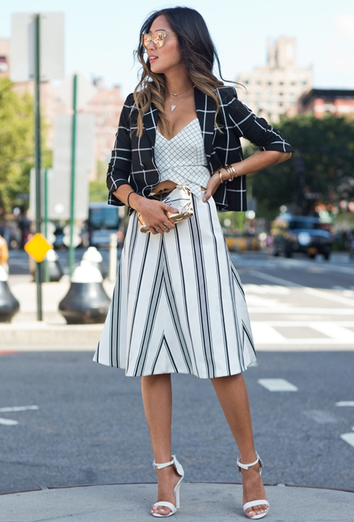song-of-style-checked-blazer-stripe-skir