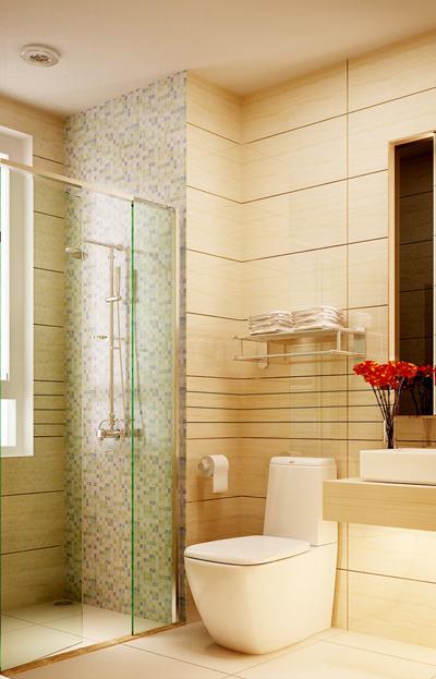 Phòng WC và phòng tắm được cách nhau bởi tấm kính ngăn.
