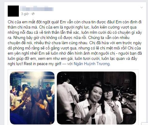 Trang Facebook của Ngân tràn ngập những lời chia sẻ, tiếc thương của bạn bè. Ảnh chụp màn hình.