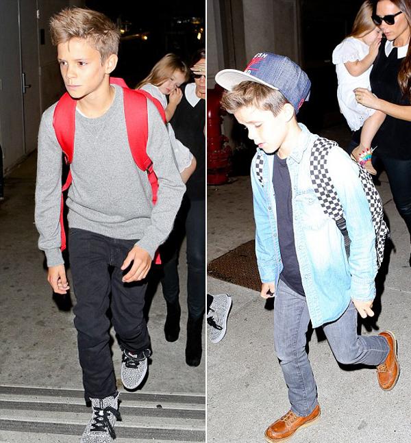 Thời trang đi máy bay của hai cậu nhóc
