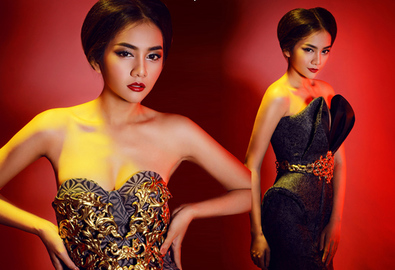 Châu Diệu Minh sexy với váy dạ tiệc mùa thu