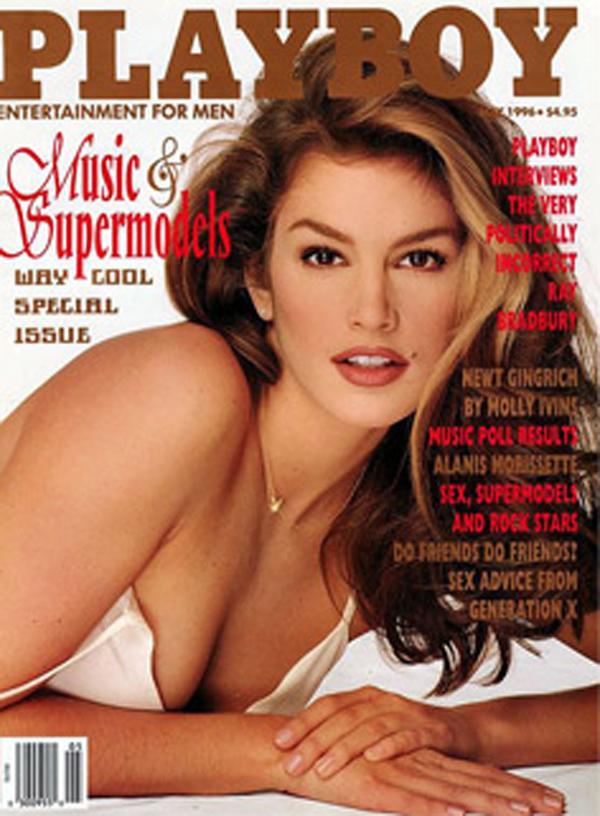dĐể kiếm thêm thu nhập, Cindy Crawford đã trở thành siêu mẫu đầu tiên xuất hiện trên bìa tạp chí Play Boy
