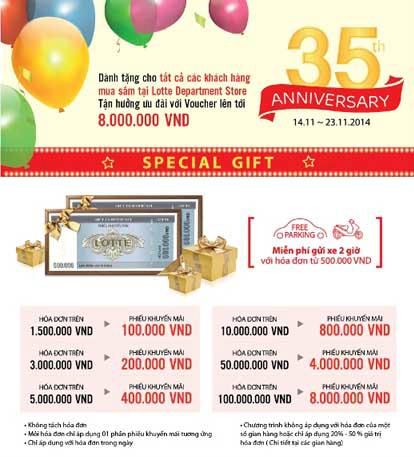 Các chương trình khuyến mãi hấp dẫn nhân dịp kỷ niệm 35 năm thành lập Lotte Department Store