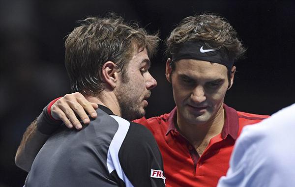 Hai tay vợt hàng đầu Thụy Sỹ là đối thủ của nhau tại bán kết ATP World Tour Finals cuối tuần qua.