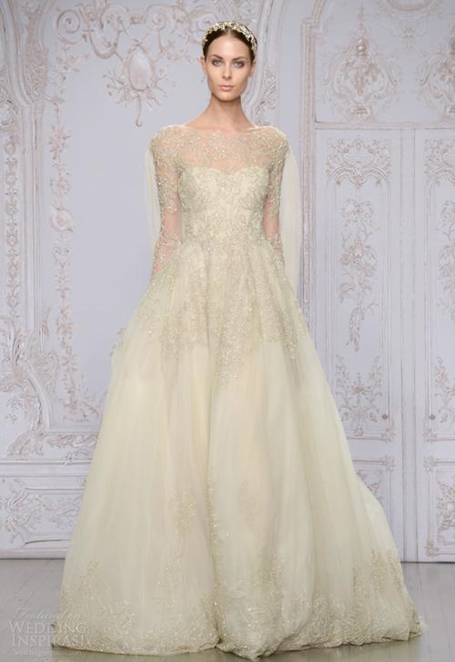 Váy cưới Monique Lhuillier nữ tính mùa thu 2015