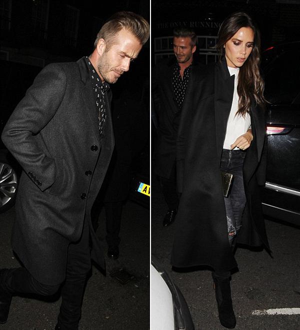 Vợ chồng Becks cùng mặc đồ đen sang trọng tới bữa tiệc nhỏ