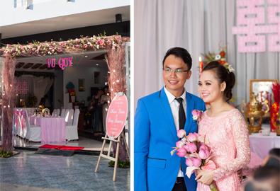 Lễ gia tiên Sài Gòn trang trí với màu hồng xinh xắn