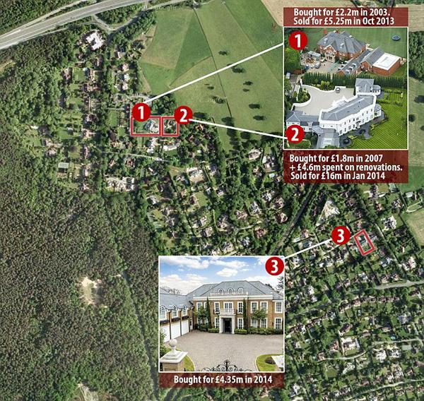 Ba ngôi nhà của Terry ở gần nhau.