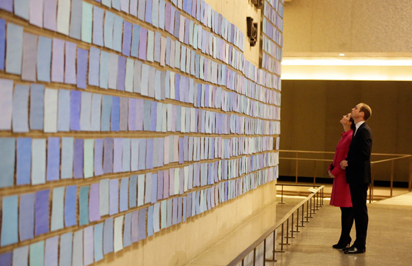 William and Kate view the art installation of Spencer Finch during a visit the National September 11 Memorial and Museum.