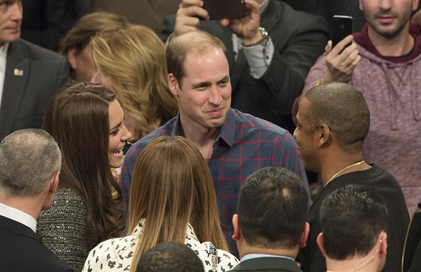 The Duke and Duchess of Cambridge met America's pop royalty at an NBA game in Barclays Centre on their first visit to New York. William and Kate shook hands with Beyoncé Knowles and her husband Jay Z and smiled widely as they chatted courtside, wishing each other a merry Christmas and congratulating one another on their adorable children.