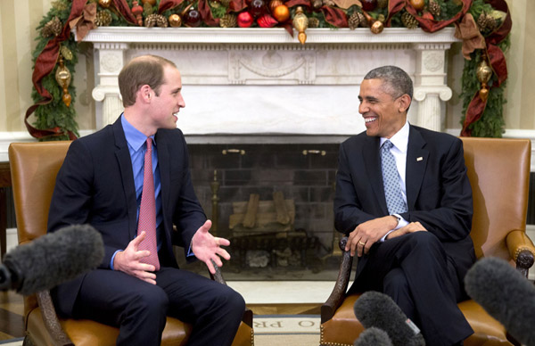 When William met President Barack Obama in the White House, the pair found themselves talking about Prince George's future playmate. William joked that when Prince George was born he