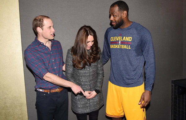William had Kate in fits of giggles as he joked about the size of his feet when they met basketball star LeBron James at an NBA game in New York. When the Duke was asked what size shoes he wore, he replied: