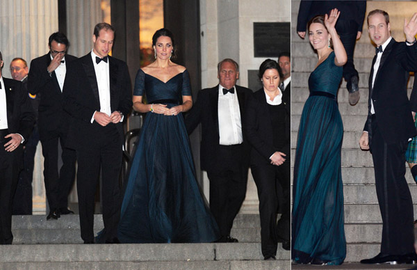 The royal couple didn't disappoint on their last night in the Big Apple, looking as glamorous as ever. Kate dazzled for the dinner at the Metropolitan Museum of Art in a blue Jenny Packham silk dress, which was making its third outing in just over a year.