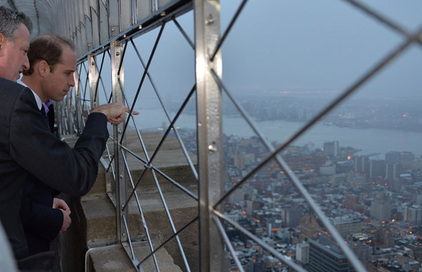 William takes in the spectaular vistas from the 86th floor of the Empire State Building. Kate had hoped to attend, but opted out due to such a full itinerary for their NYC stay.