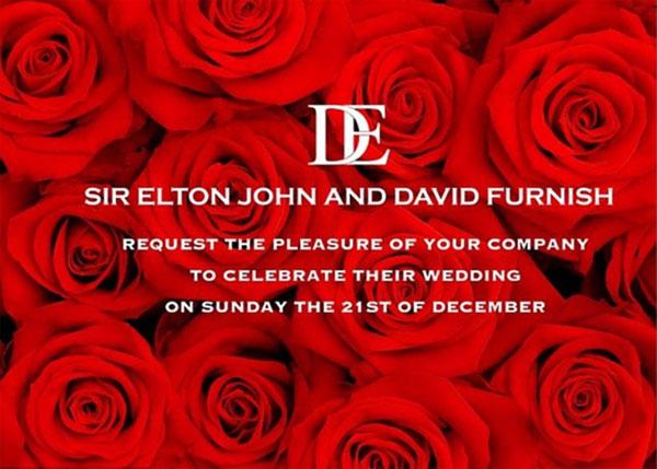 Elton đăng tải tấm thiệp online rực rỡ để thông báo về lễ cưới trên Instagram.
