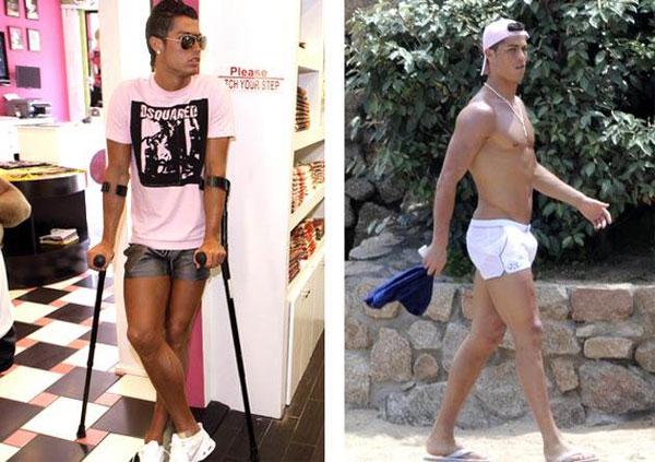 Siêu sao Bồ Đào Nha mặc đồ hồng nữ tính, quần đùi ngắn và bó sát trong kỳ nghỉ hè 2008.