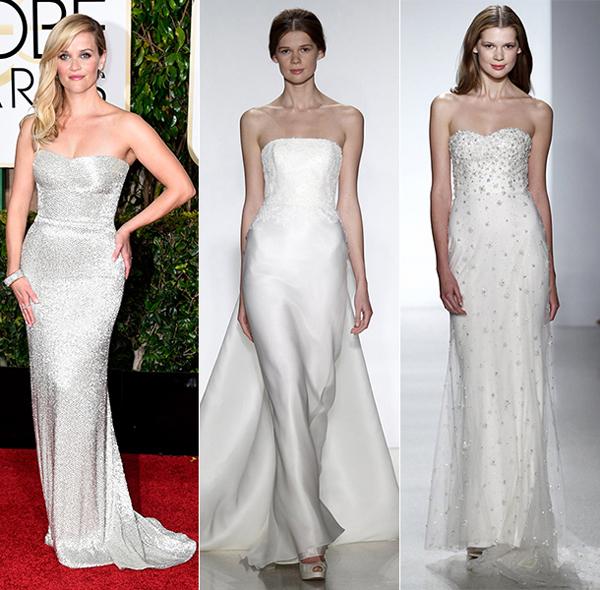 Váy cưới theo style của sao tại Quả cầu vàng 2015
