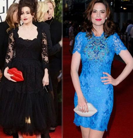 Helena Bonham Carter và Hayley Atwell tham dự sự kiện với một mẫu clutch hình đôi môi.