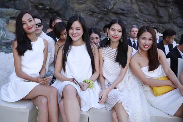 Góp mặt trong lễ cưới, các người mẫu nổi tiếng như: Lê Thuý, Tuyết Lan, Thuỳ Dương... cùng đảm nhiệm vai trò phù dâu.