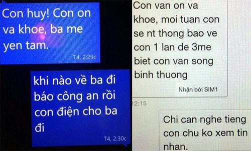 Hai tin nhắn mà ba mẹ của Huy Anh nhận được. Ảnh: Gia đình cung cấp.
