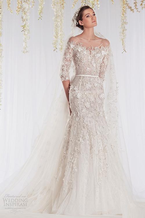 Váy cưới trong suốt đính hoa 3D tuyệt đẹp