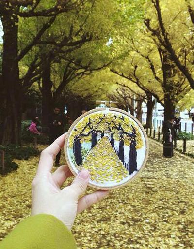 Mùa thu vàng ở Tokyo, Nhật Bản.