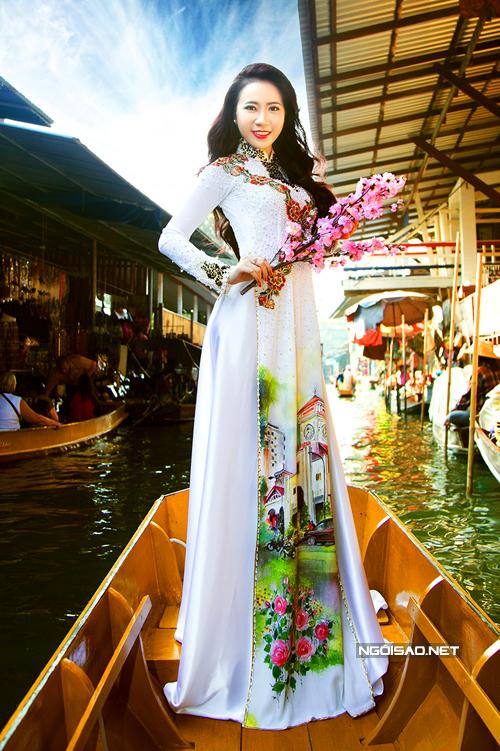 Lê Ngọc Thanh với áo dài cưới độc đáo