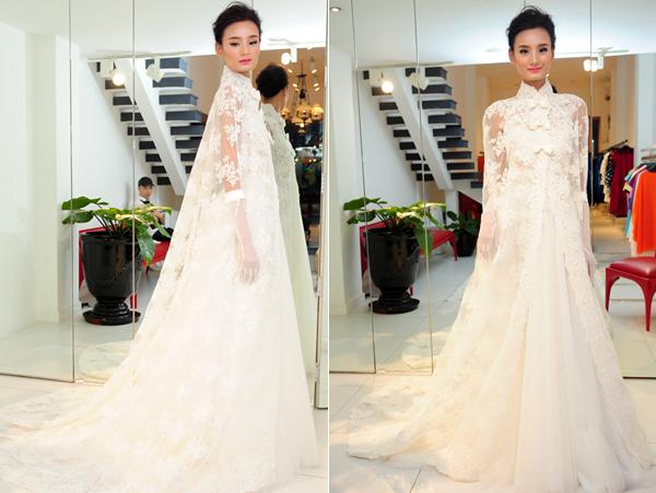 Váy cưới kèm áo khoác độc đáo giống Lê Thúy