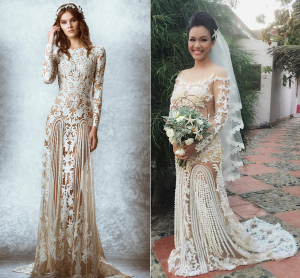 Váy cưới sao Việt giống thiết kế nước ngoài