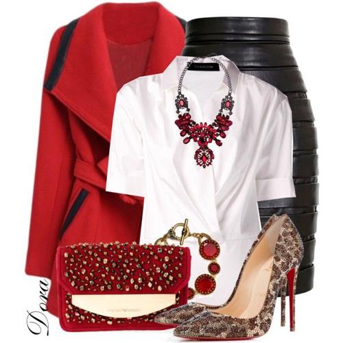 Cách phối màu thời trang mang lại phong cách thanh lịch và hiện đại với chân váy bút chì đen, sơ mi trắng và các phụ kiện tiệp sắc đỏ rực rỡ.